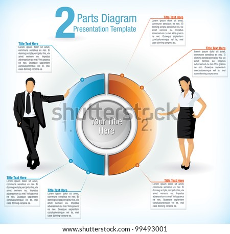 Colorful segmented wheel format presentation diagram with the figure of a business man and woman on either side with attached text information boxes - stock vector