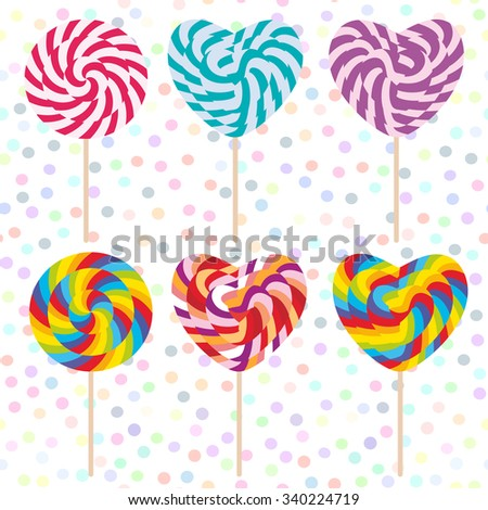 colorful Set candy lollipops, spiral candy cane. Candy on stick with twisted design on white abstract geometric retro polka dot background. Vector - stock vector