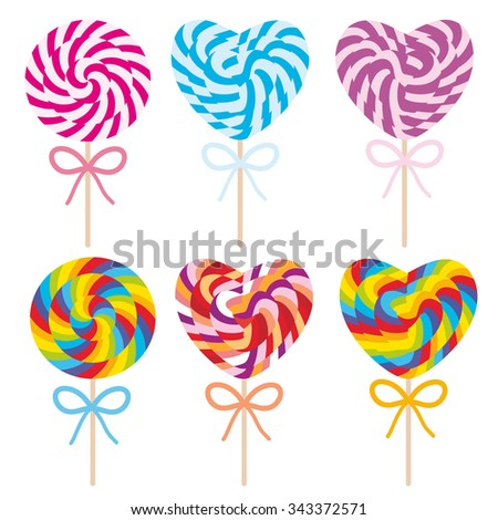 colorful Set candy lollipops with bow, spiral candy cane. Candy on stick with twisted design on white background. Vector - stock vector
