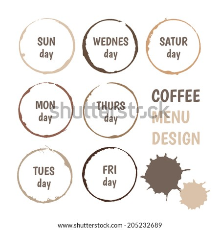 colorful set of abstract vector coffee stains for everyday menu design - stock vector