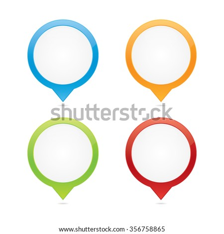 Colorful Set of Blank Glossy Pins - stock vector