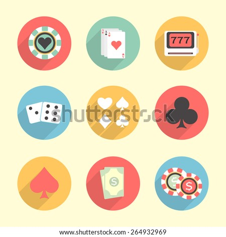 Colorful set of Casino elements including, poker chip, ace cards, slot machine, dices and cards symbols. - stock vector