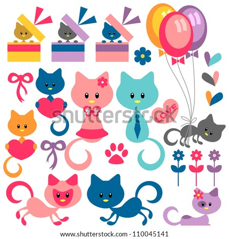 Colorful set of cute baby kittens