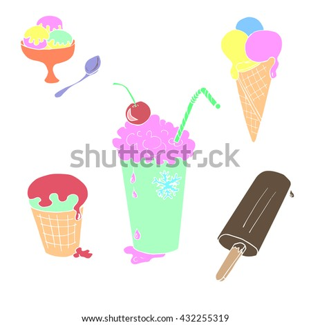 Colorful set of cute vector hand drawn doodle ice cream. Cones and ice creams with different flavours.