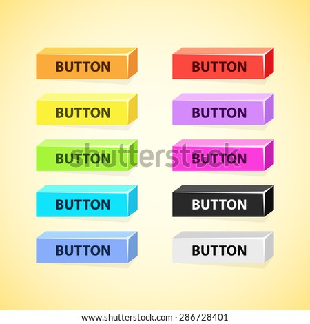 Colorful set of 3D box buttons - stock vector