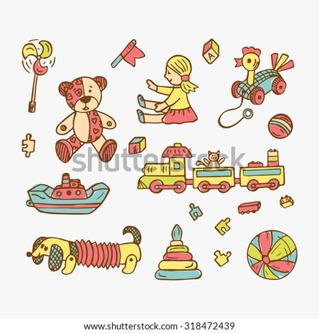 Colorful Set of Doodle Toys  - stock vector