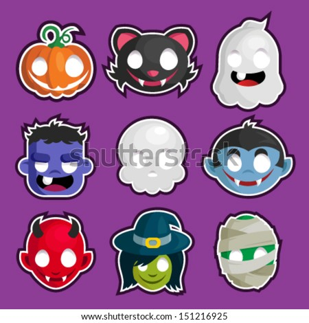 Colorful set of Halloween head cartoon stickers. - stock vector
