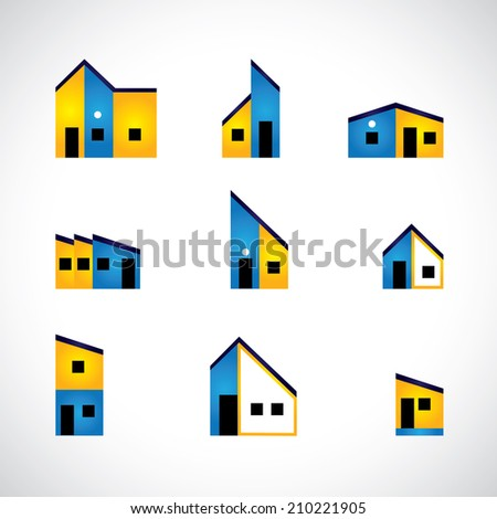 colorful set of house or home, factory & industrial buildings - vector graphic. This graphic also represents home icons, construction industry, real estate market for buying & selling property