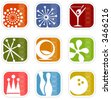 Colorful set of icons of retro symbols; Easy-edit layered vector art - stock vector
