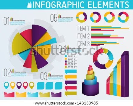 Colorful set of infographic elements - stock vector