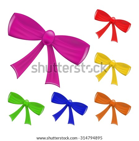 Colorful set of  realistic  ribbon bow isolated on white background. Vector illustration