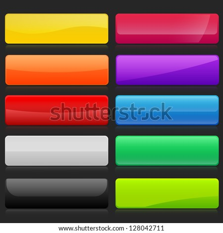Colorful set of rectangle horizontal shiny banner buttons with different gloss reflections over, eps10 vector, color is easy to edit - stock vector