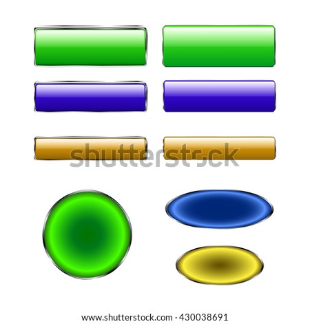Colorful set of rectangle horizontal shiny banner buttons with different gloss reflections over, eps10 vector - stock vector