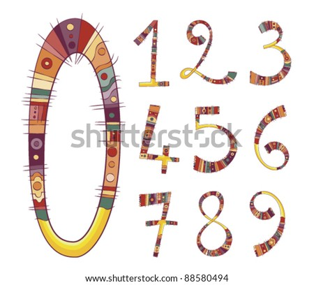Colorful set of retro numbers from 0 to 9 . vector file