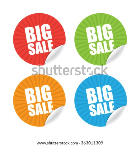 Colorful Set of Round Big Sale Sticker Labels - stock vector
