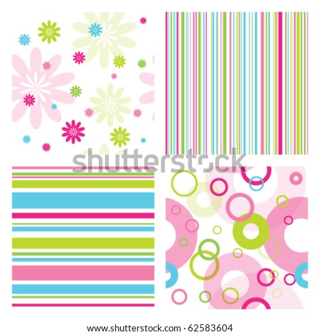 Colorful set of seamless patterns with flowers, thin lines and geometric round shapes. Lovely patterns for scrapbook, craft, home made projects, invitation  Nice abstract ornamental modern textures - stock vector