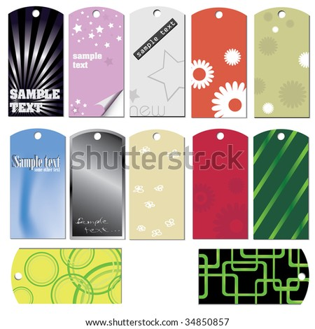 colorful set of tags and stickers