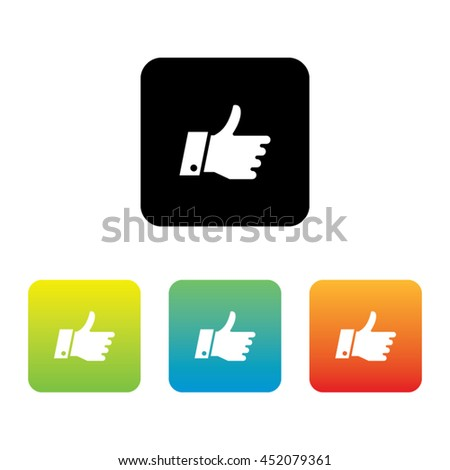 Colorful Set of Thumbs Up Icons - stock vector