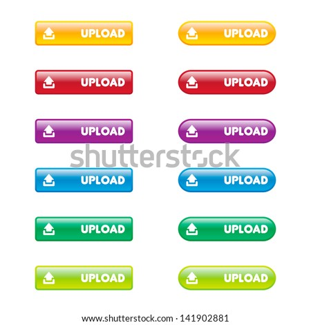 Colorful Set of Upload Buttons - stock vector