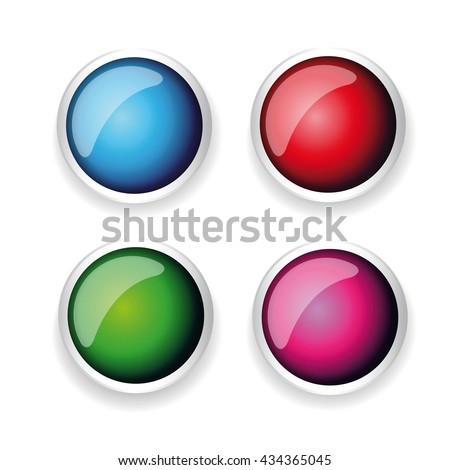 Colorful shiny button set with metallic elements
