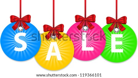 Colorful shiny Christmas balls tied with red bow and with the word sale. New year shopping labels. Vector - stock vector