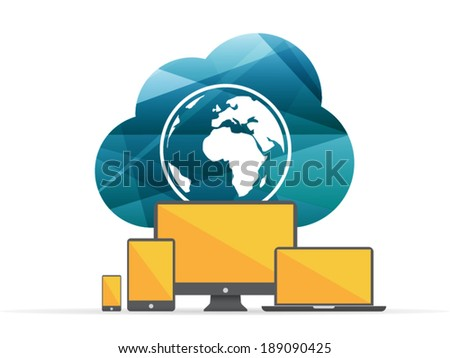 Colorful shiny geometric cloud computing sign with globe and digital devices. Technology concept. Vector graphic illustration template. Isolated on white background. - stock vector