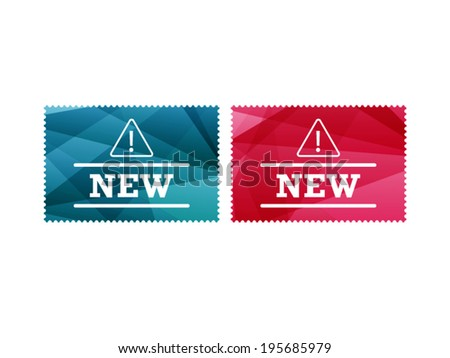 Colorful shiny geometric new stamp badge sign object. Vector graphic illustration template. Isolated on white background - stock vector