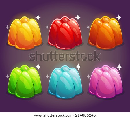 Colorful shiny jelly set on the dark background - stock vector