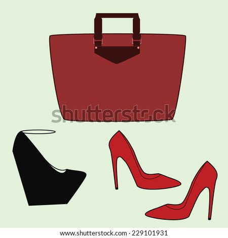 Colorful Shoes and Bag on the Gray Background - stock vector