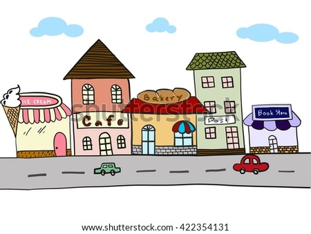 Colorful shop in the city vector cute style