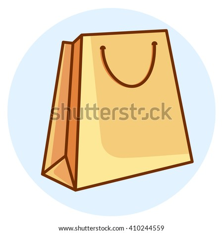 Colorful shopping bag. Colored flat line design. Vector icon.