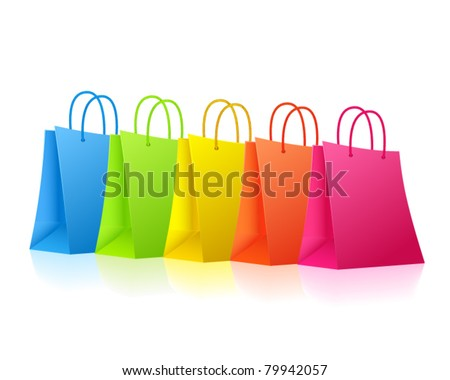 Colorful shopping bags standing in a row - stock vector