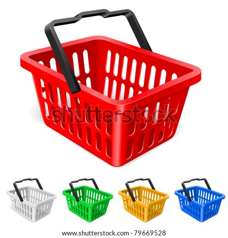 Colorful shopping basket. Illustration on white background - stock vector