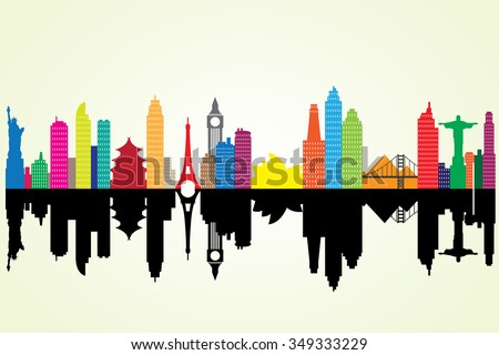 Colorful silhouette cityscape with famous building. - stock vector