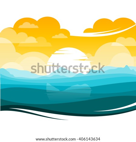 stock vector colorful silhouette landscape of sunset sunrise ocean for graphic design and website 406143634 - Каталог — Фотообои «Закаты, рассветы»