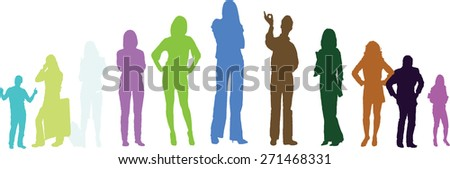 Colorful silhouettes - stock vector