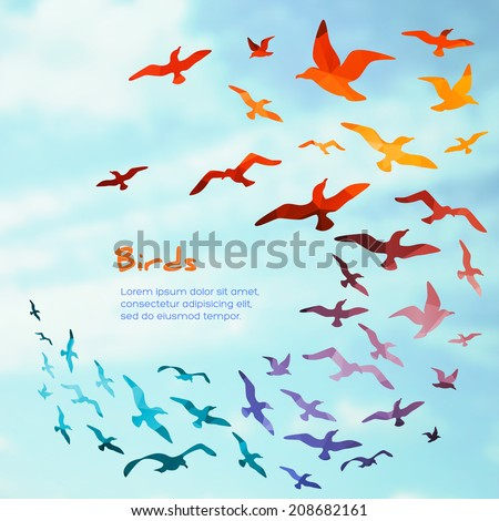 Colorful silhouettes of flying birds, vector illustration. - stock vector