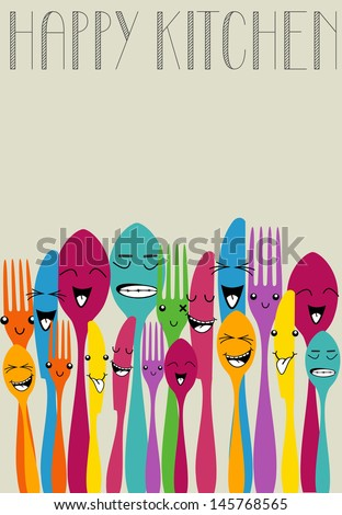 Colorful silverware funny cartoon set . Vector file layered for easy manipulation and custom coloring. - stock vector
