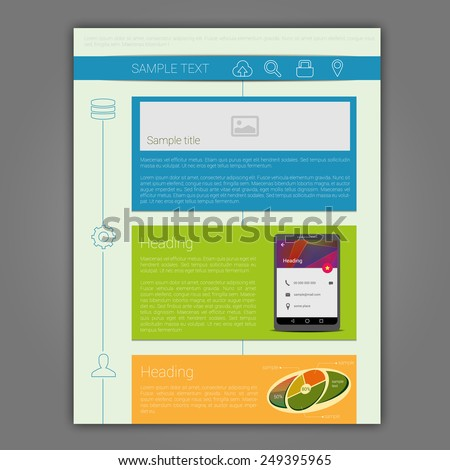 Colorful simple brochure with linear graphics