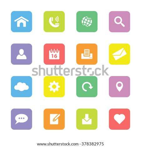 colorful simple flat web and technology icon set 1 on rounded rectangle for web design, user interface UI, infographic and mobile application (apps) - stock vector
