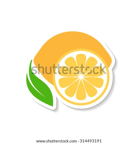Colorful simple lemon fruit icon label with shadow - stock vector