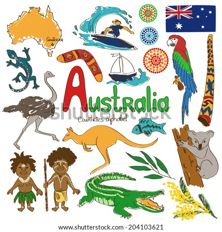 Colorful sketch collection of Australia icons, countries alphabet - stock vector