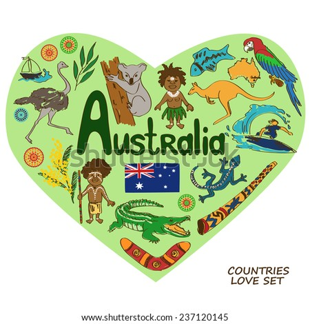 Colorful sketch collection of Australian symbols in heart shape concept. Travel background - stock vector