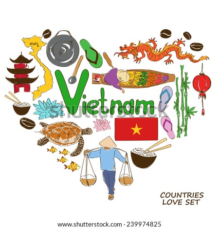 Colorful sketch collection of Vietnamese symbols. Heart shape concept. Travel background - stock vector