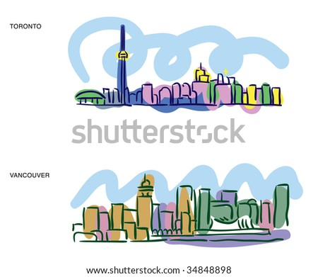 Colorful sketches of Toronto and Vancouver cityscapes - stock vector