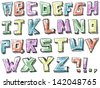 Colorful sketchy hand drawn alphabet - stock vector