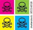 colorful skull icons, signs, vector illustrations - stock vector
