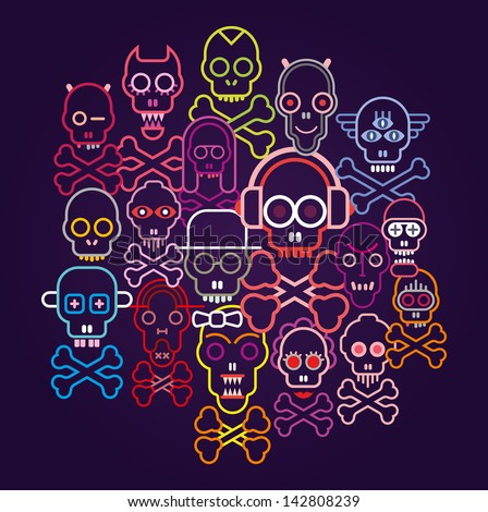 Colorful Skulls and Crossbones - vector illustration on dark blue background.