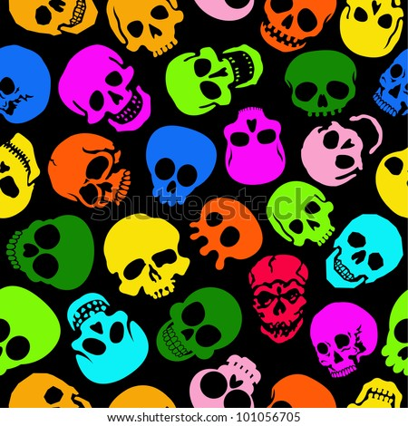 Colorful Skulls vector seamless pattern in black background - stock vector