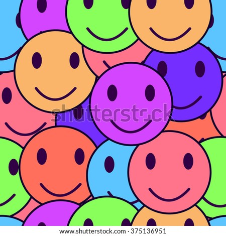 Colorful smiles seamless texture, background - stock vector